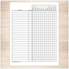 Bill Payment Tracker Log - Full Year - Printable Planning