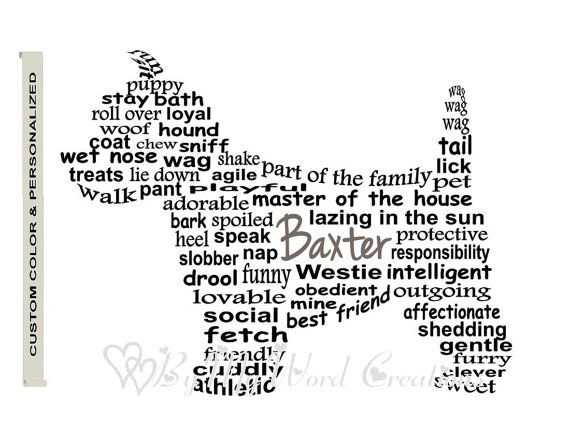 Personalized Westie Art Dog Art Dog Word Art by ByMyWordCreations