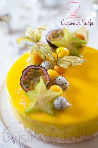 Entremet exotique: passion mangue coco