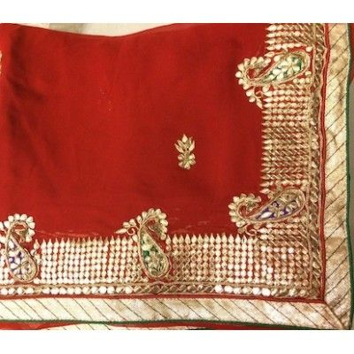 New Red Designer Pure Georgette Saree with Gorgeous Gota Patti Work