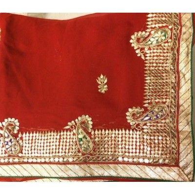 New Red Designer Pure Georgette Saree with Gorgeous Gota Patti Work