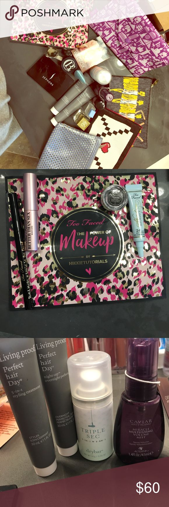 **HUGE BEAUTY BUNDLE** Everything from hair care to perfume, skin care to makeup bags, including **LIMITED EDITION** unused Power of Makeup set from Nikkie Tutorials/Too Faced! 4 limited edition ipsy bags! Brands include Living Proof, Triple Sec, Tory Burch, etc plus a Sephora compact mirror! Makeup