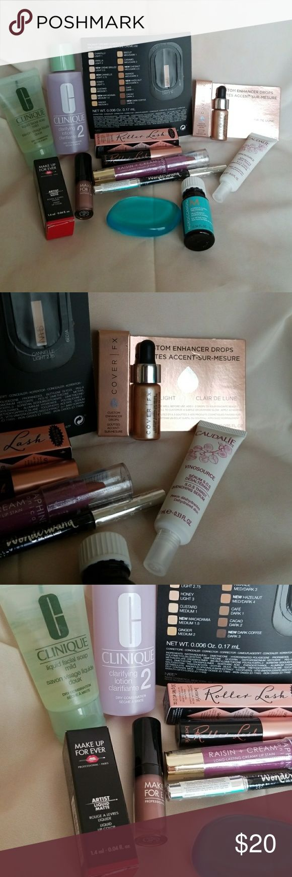 Name brand makeup bundle/lot Lot includes: Make Up For Ever Liquid Matte lip color in 105 Benefit Roller Lash mascara Cover FX Custom Enhancer Drops in Moonlight Full sized Seraphine Botanicals creamy lip stain in Raisin Full sized Ciate Wonderwand in black NARS foundation sample in Cannelle Light 2.75 Clinique liquid facial soap in mild and clarifying lotion in #2 Caudalie Vinosource Thirst Quenching Serum Moroccanoil Moroccan oil treatment for all hair types Silicone applicator All items…