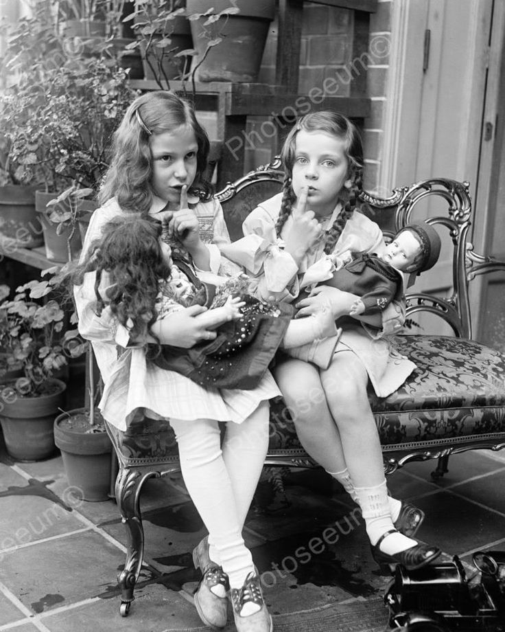 Girls & Antique Porcelain Bisque Doll & Lenci Doll 8x10 Reprint Of Old Photo