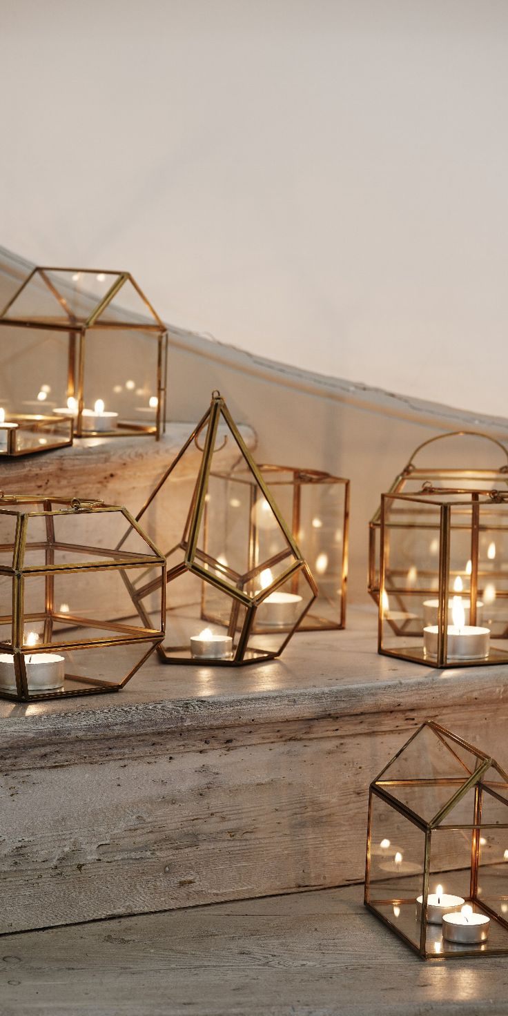Looking for some Christmas decorating ideas? Create a unique miniature world, candle display feature or living art with our Gold & Glass Gem Terrarium, an ornamental piece combining brass, glass and mirror in an unusual geometric design.