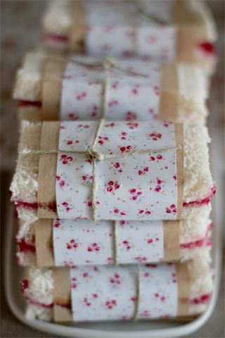 sandwiches with pretty paper