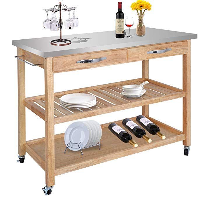 Zeny Natural Wood Kitchen Cart Rolling Kitchen Island Utility