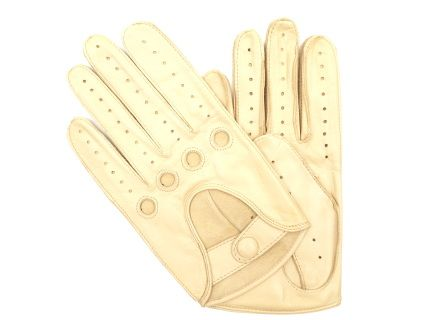 These gloves are made of cream lambskin, in a classic design. They close with a leather dressed snap at the wrist.