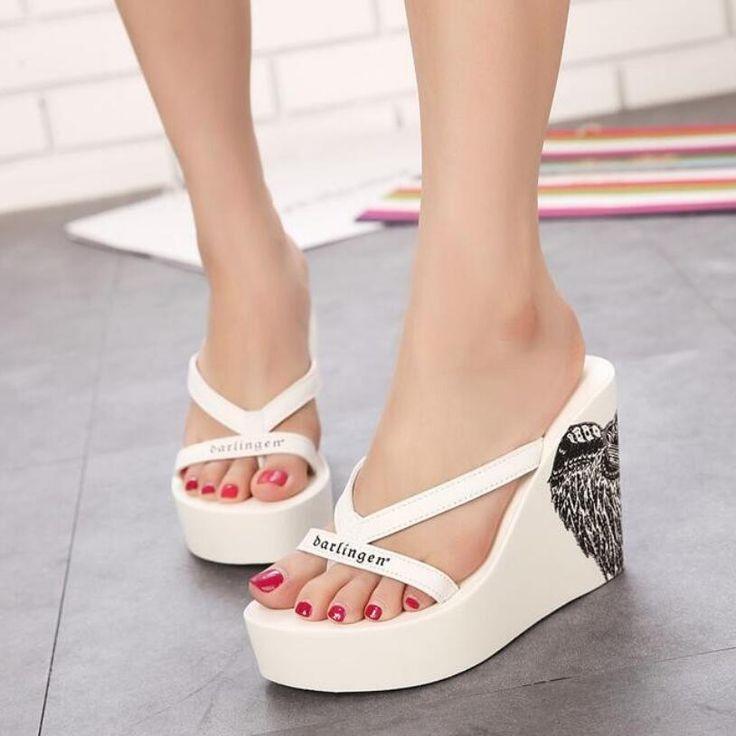 Candy Girls Summer Floral Print Canvas Wedges Platform Women Beach Sandals Shoes