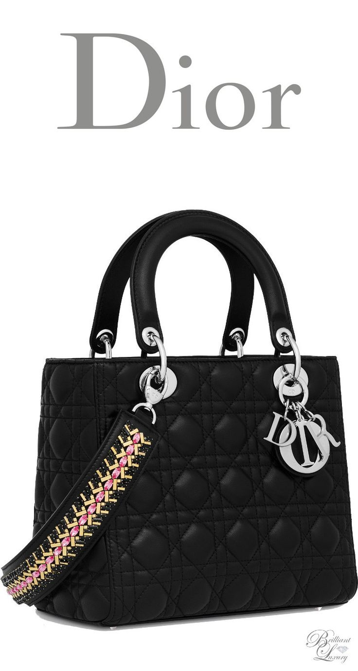 Brilliant Luxury * Dior Summer 2016 ~ Black lambskin Lady Dior bag with embroidered strap with crystals