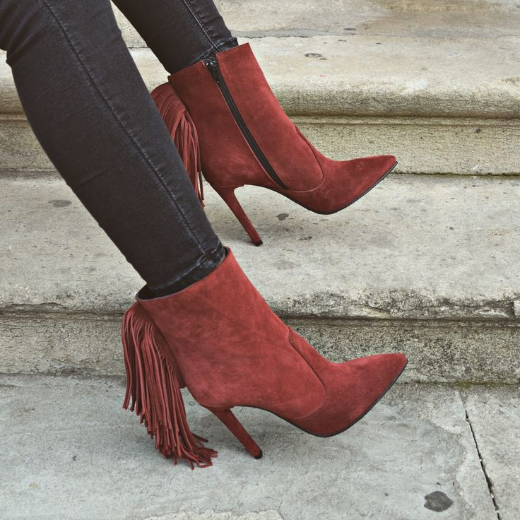 #the5thelementshoes #red #cognac #fringe #leather #boots #musthave #fallwinter #rosettishowroom
