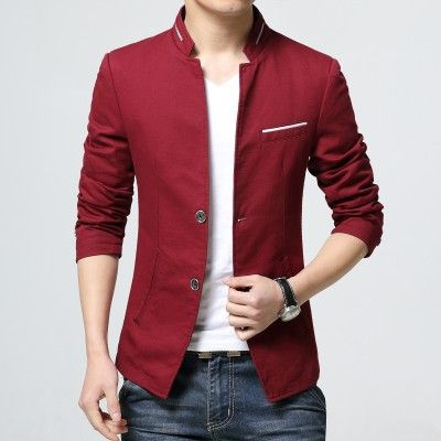Men's Blazer Jacket 2017 New Arrival Two Button Slim Blazer Men Spring Solid M-3XL Mens Casual Blazers Big Size 3Colors