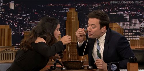 New party member! Tags: nbc tonight show salma hayek spaghetti