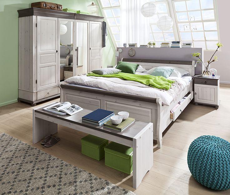 Nice  bestehend aus Bettgestell mit Schubk sten Nachttisch Kleiderschrank mit Spiegel Holzbank Kiefer massiv wei Lava Produktnummer