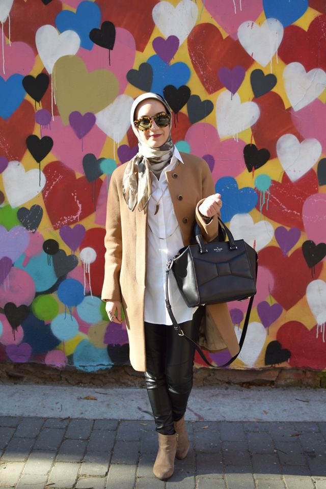 A Day In The Lalz; Fashion Blogger; Camel Wool Coat; J. Crew Coat; Leather Leggings; NYC; Heart Wall; BaubleBar Cornicello Pendant; Karen Walker Special Fit Harvest Sunglasses; Kate Spade Black Beau Bag; Modesty; Haute Hijab Scarf; Streetstyle fashion