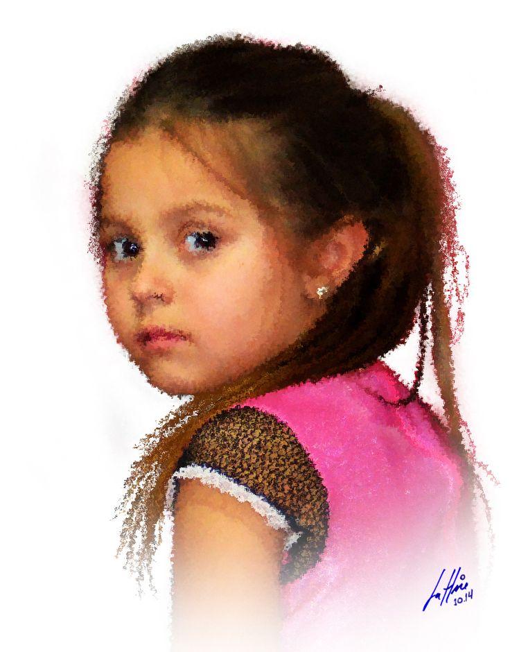 Mari - Minha bis-neta, foto obtida no dia do seu aniversário e tratada como pintura de respingo no PhotoShop.