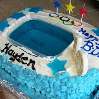 In Preparation For The Summer Olympics Here Is The Swimming Pool Cake Made With Jello