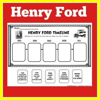FREE Henry Ford Timeline : Here's a free cut and paste timeline that you can use with your studies on Henry Ford. This makes a great follow up activity to my Henry Ford PowerPoint lesson!  Visit and follow  GREEN APPLE LESSONS for more great resources!