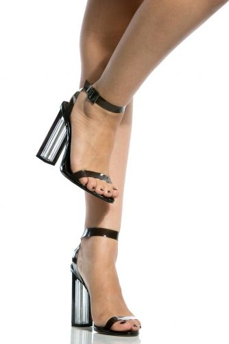 08976f0f166b Black Chunky Wrap Around Vinyl Heels