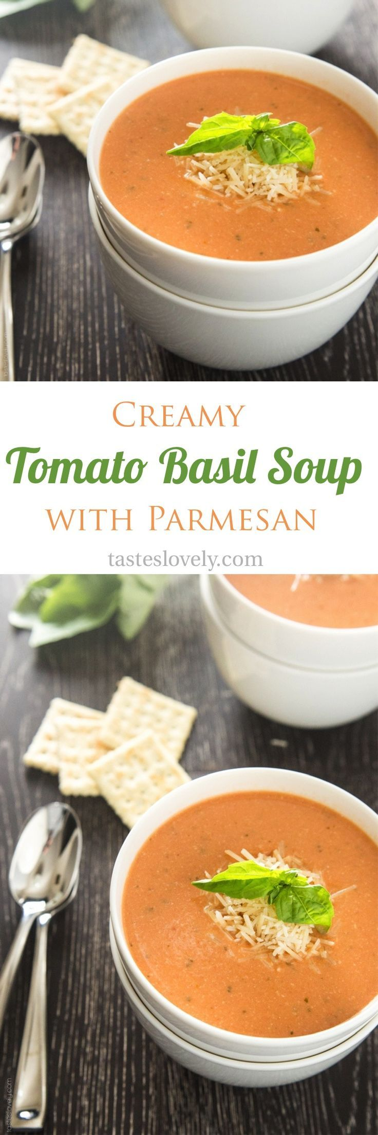 Creamy tomato basil soup with parmesan cheese