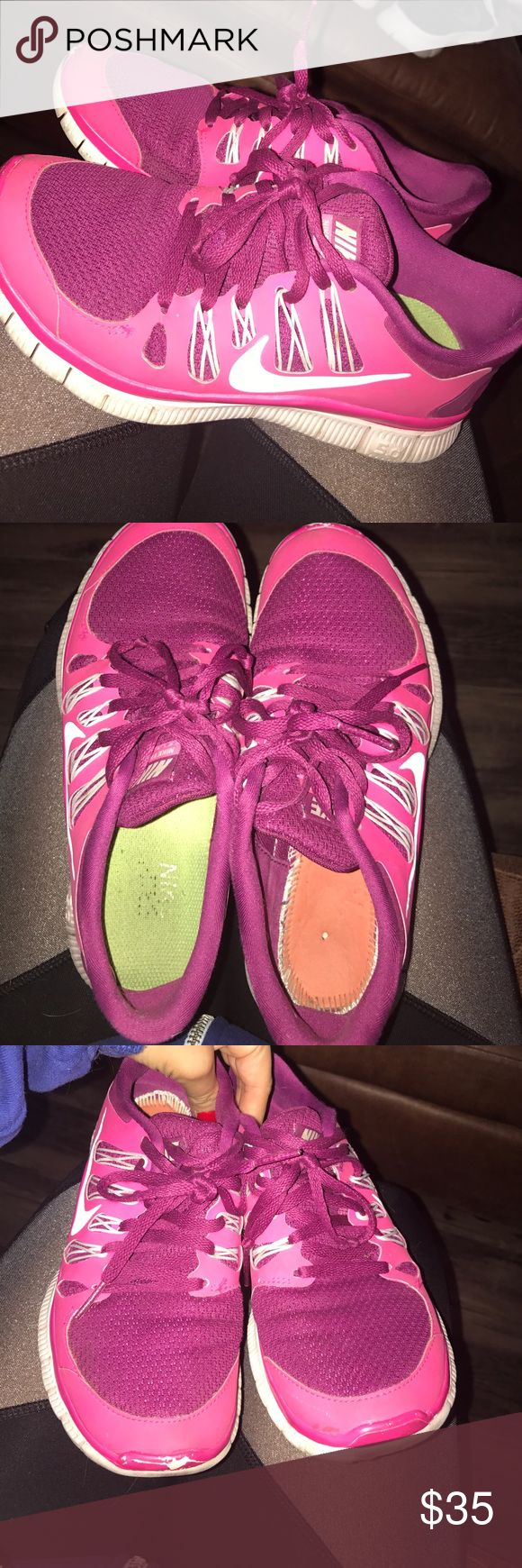 Pink nikes Pink nikes!! In good condition, only problem is there is a sole missing out of the right shoe :( Nike Shoes Sneakers