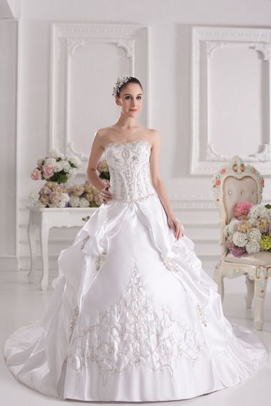Ball Gown Strapless Satin Chapel Train Embroidery Wedding Dress