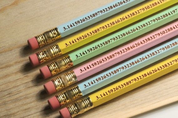 The perfect pencil for math tests features Pi calculated to 96 digits.