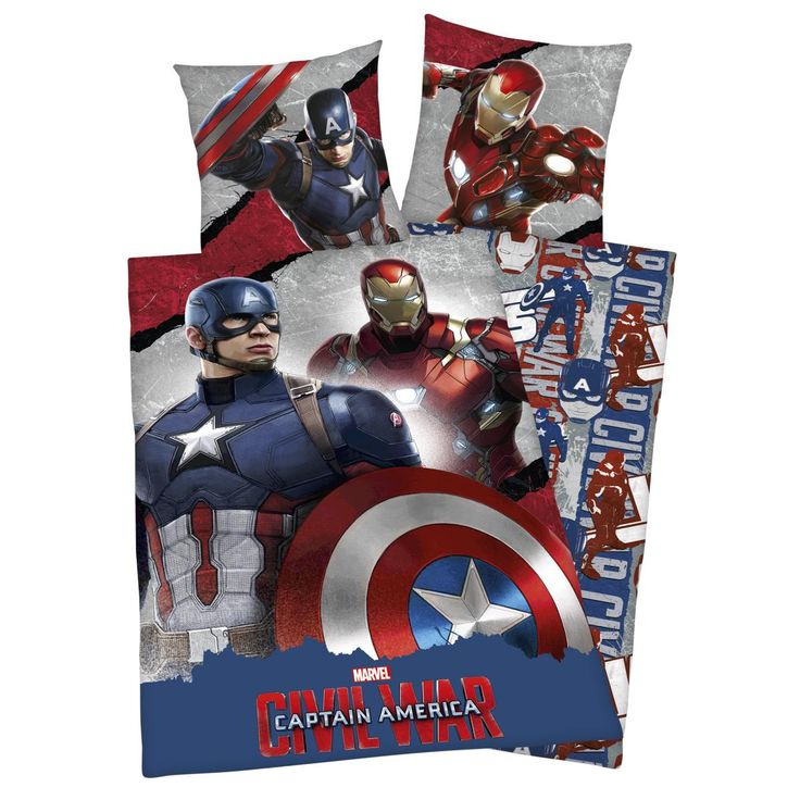 "Set letto reversibile ""Captain America vs. Iron Man"" di #CaptainAmerica Civil War."