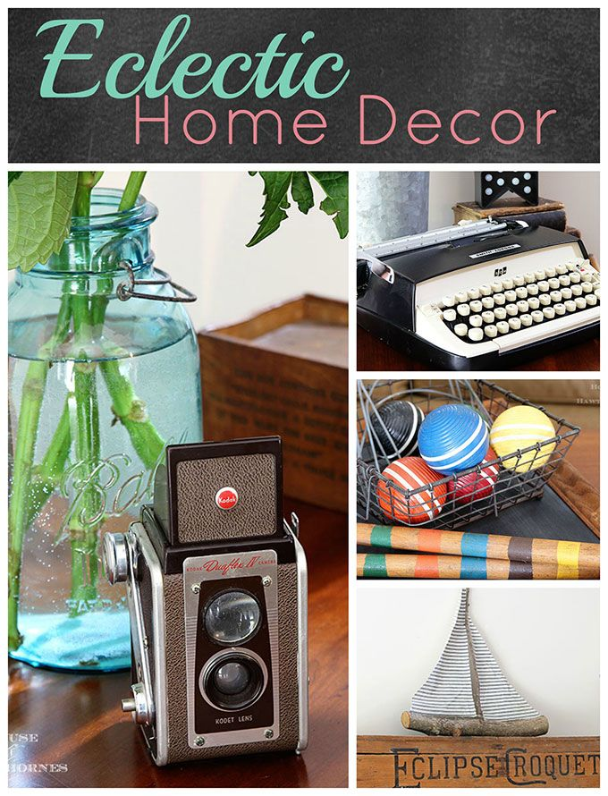 A rustic vintage eclectic style summer home decor tour including vintage thermoses, cameras, typewriter and vintage croquet and badminton equipment.