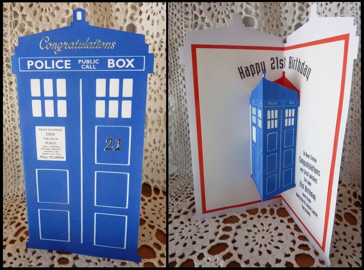 Dr Who Tardis pop-up card I made for my nephew's 21st Birthday. I adapted some ideas I got from Pintrest and re-drew them in GIMP