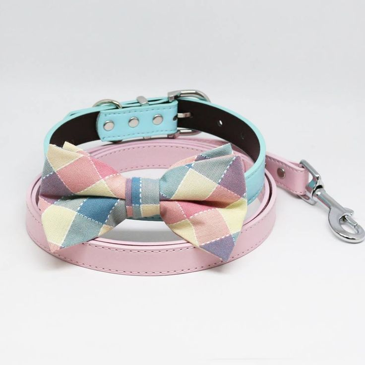 Plaid Pink Blue Bow tie Collar Pink Leash, Handmade, Puppy Gift, Dogs wedding, Pet accessory