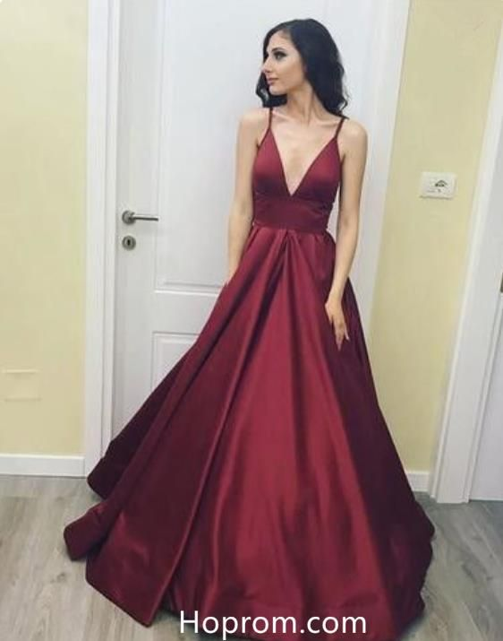 a80b47aa658f3 Burgundy Red Long V Neck Red Prom Gowns Dresses Evening Dress in ...