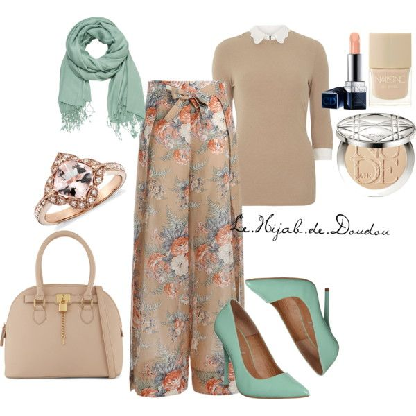 Beige and Green Hijab Outfit by le-hijab-de-doudou on Polyvore featuring mel, Zimmermann, Office, ALDO, maurices, Christian Dior and Nails Inc.