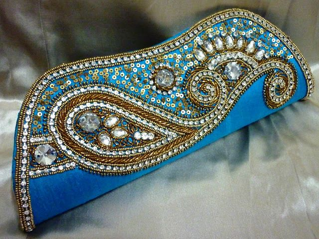 PROM PARTY CLUTCH BAG DIAMANTE INDIAN WEDDING BRIDAL DRESS PURSE HANDBAG SAREE