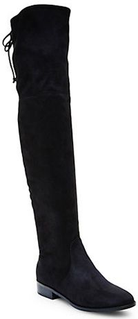 "Steve Madden ""Odina"" Flat Suede Over-The-Knee Boots in black, $149.95 (Stuart Weitzman Lowland dupes)"