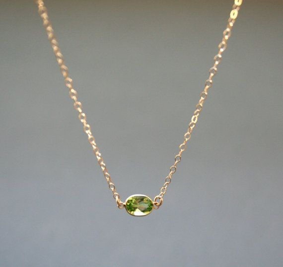 Gold Peridot Necklace  August Birthstone Delicate by StudioGoods
