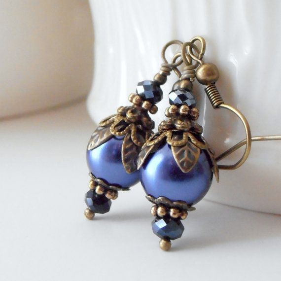 Midnight Blue Pearl Earrings Vintage Style Bridesmaid Jewelry Dark Blue Wedding Jewelry Sets Antiqued Bead Earrings for Bridesmaids Handmade