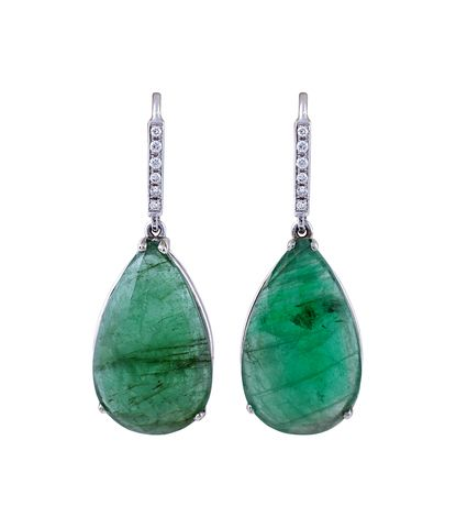 Beautiful earrings with emeralds and diamonds set on white gold. Designed and handmade in Greece by Giouzenis Jewellery.