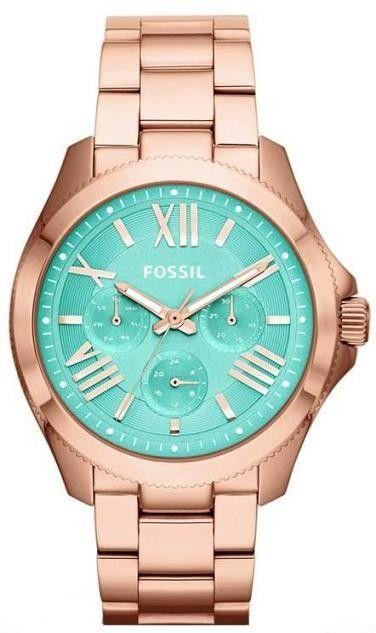 Fossil AM4540   2014 Horloge dames roségoud turquoise