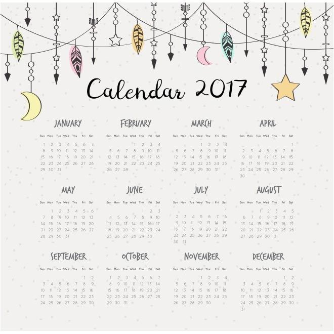 illustration Vector template of color 2017 calendar - free vector download for commercial use Download free vector graphic & images | cgvector