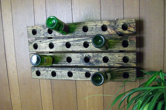 Horizontal Riddling Rack Distressed Wood Handmade in by Wood4Decor