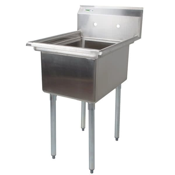 """Regency 22"""" 16-Gauge Stainless Steel One Compartment Commercial Sink without Drainboard - 17"""" x 17"""" x 12"""" Bowl"""