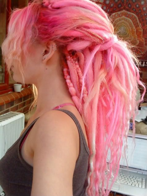 pink syntheitc dreads
