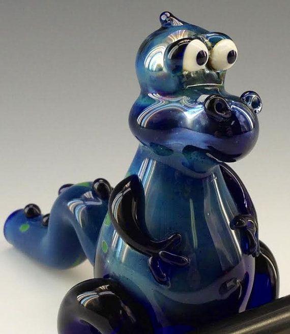 Blue Dinosaur Glass Pipe