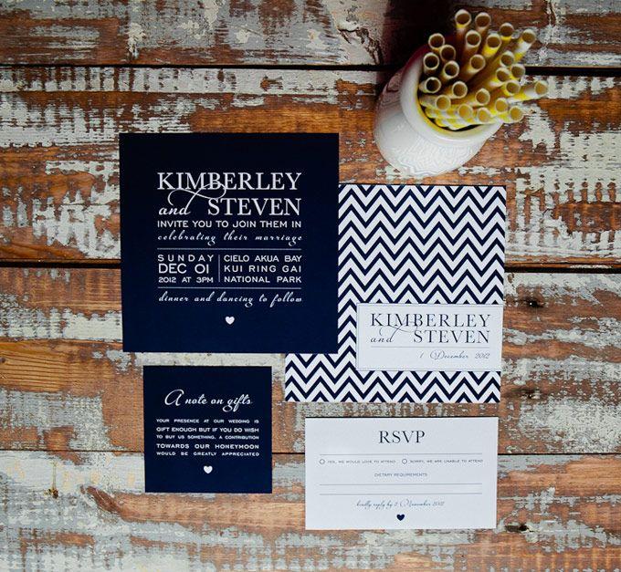 Chevron wedding invitation.  The Paper Mint || thepapermint.com.au