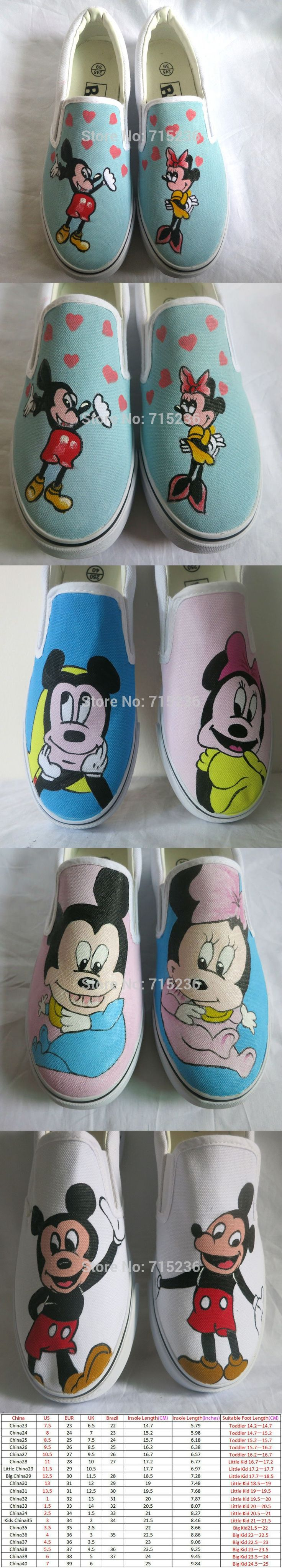 Mouse Style Kids Shoes Breathable Low Slip-On Graffiti Canvas Sneakers for Boys or Girls $59.98