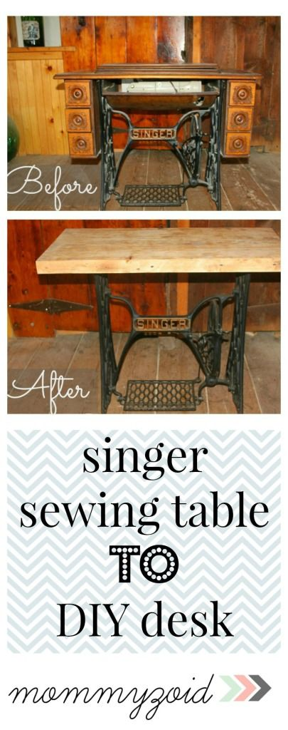 DIY Vintage Singer Sewing Machine table to a desk! So beautiful! via www.mommyzoid.ca
