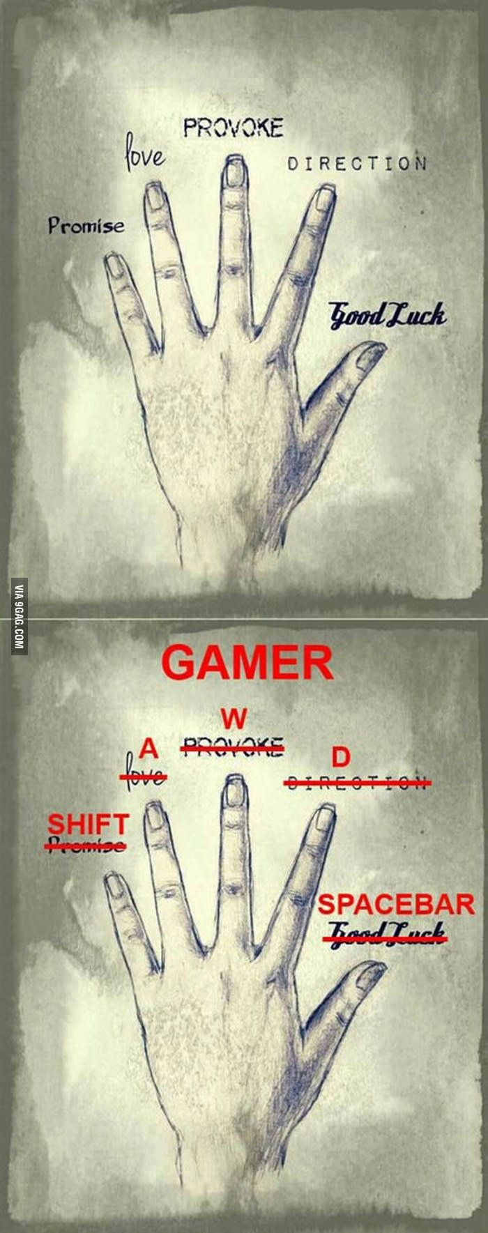 Reading gamers' palm