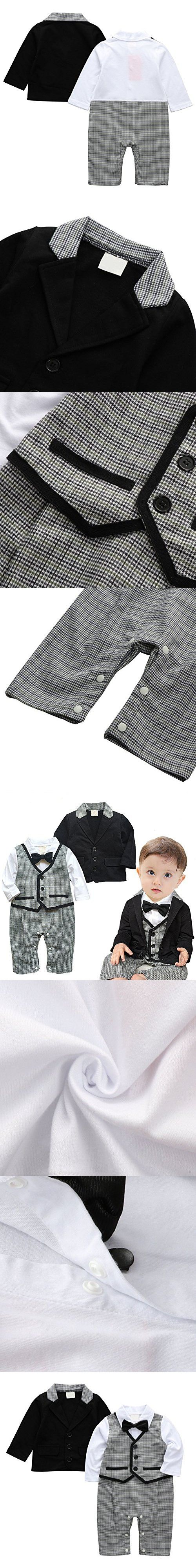 Baby Boy Tuxedo, 2pcs Toddler Suit Set Outfit Clothes with Bowtie & Long Sleeve Coat
