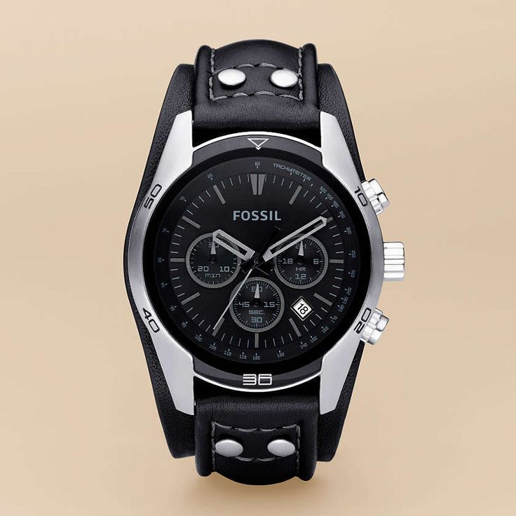 FOSSIL® Watch Styles Utility Watches:Men Sport Cuff Leather Watch – Black CH2586